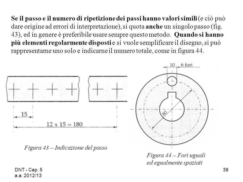DNT - Cap. 5 a.a. 2012/13 38 Figura 43 – Indicazione del passo Figura 44 – Fori uguali ed egualmente spaziati Se il passo e il numero di ripetizione d