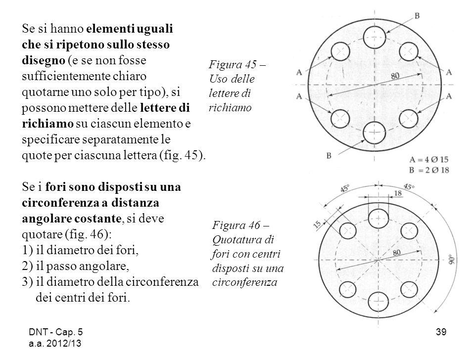 DNT - Cap. 5 a.a. 2012/13 39 Figura 45 – Uso delle lettere di richiamo Figura 46 – Quotatura di fori con centri disposti su una circonferenza Se si ha