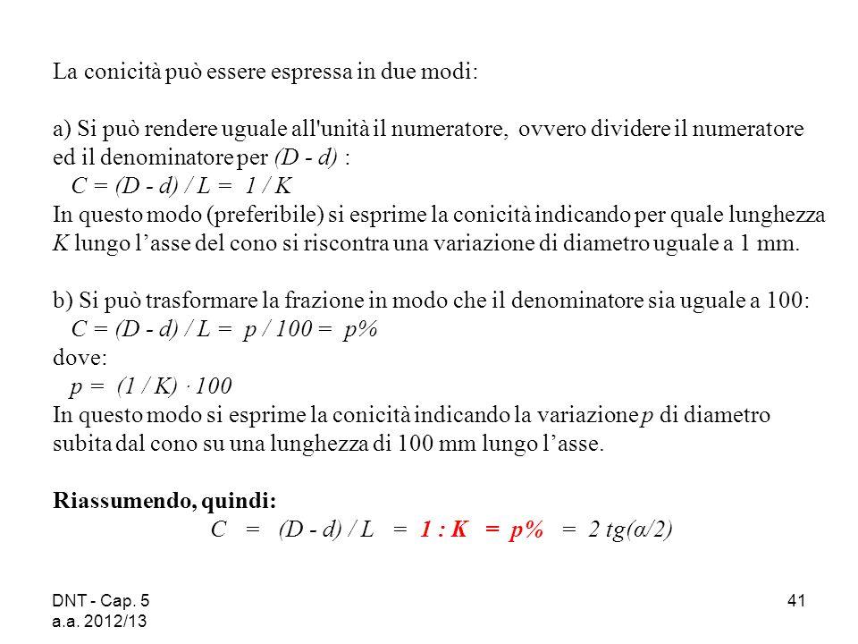 DNT - Cap. 5 a.a. 2012/13 41 La conicità può essere espressa in due modi: a) Si può rendere uguale all'unità il numeratore, ovvero dividere il numerat