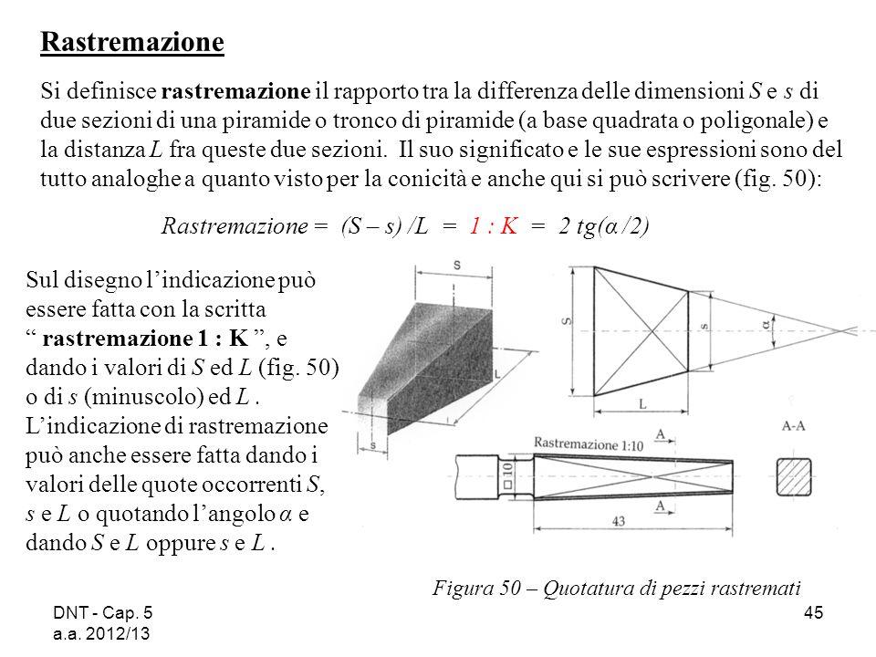 DNT - Cap. 5 a.a. 2012/13 45 Figura 50 – Quotatura di pezzi rastremati Rastremazione Si definisce rastremazione il rapporto tra la differenza delle di