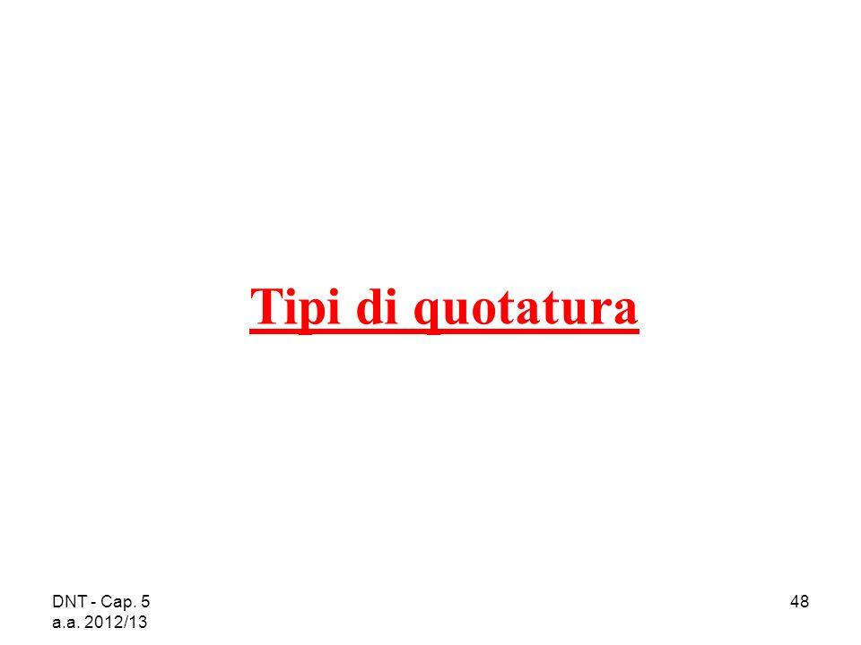 DNT - Cap. 5 a.a. 2012/13 48 Tipi di quotatura