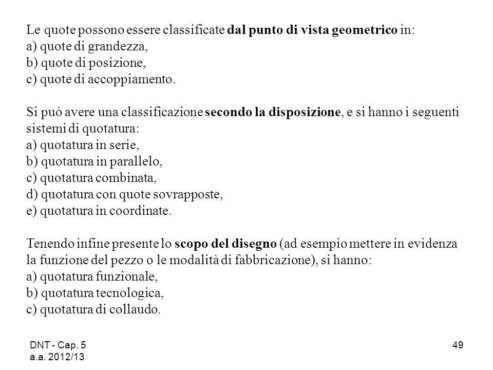 DNT - Cap. 5 a.a. 2012/13 49 Le quote possono essere classificate dal punto di vista geometrico in: a) quote di grandezza, b) quote di posizione, c) q