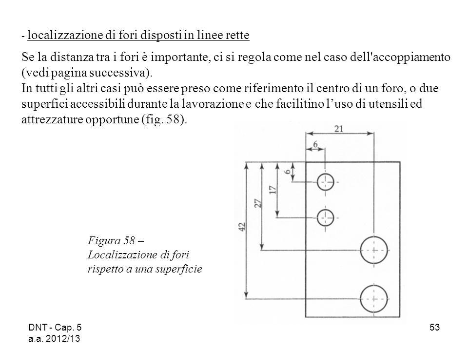 DNT - Cap. 5 a.a. 2012/13 53 Figura 58 – Localizzazione di fori rispetto a una superficie - localizzazione di fori disposti in linee rette Se la dista