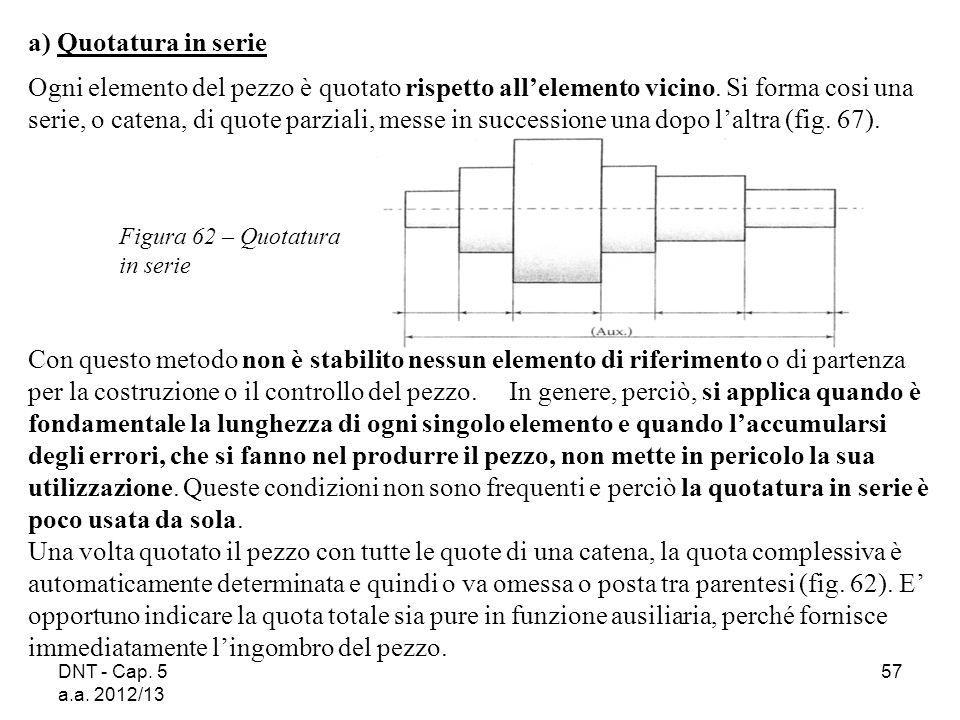 DNT - Cap. 5 a.a. 2012/13 57 Figura 62 – Quotatura in serie a) Quotatura in serie Ogni elemento del pezzo è quotato rispetto allelemento vicino. Si fo