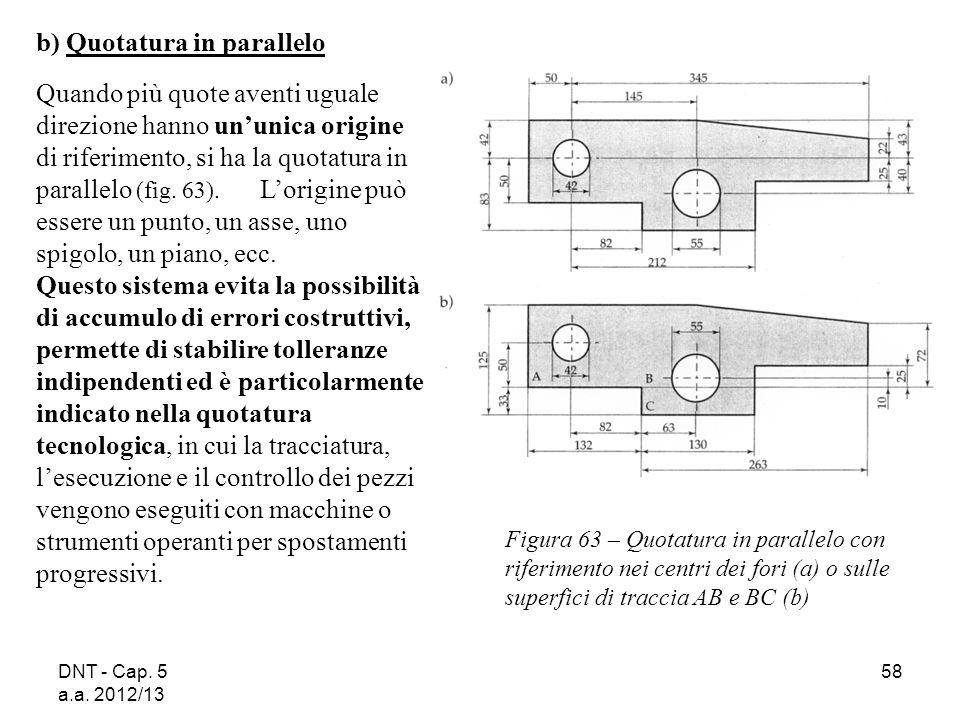 DNT - Cap. 5 a.a. 2012/13 58 Figura 63 – Quotatura in parallelo con riferimento nei centri dei fori (a) o sulle superfici di traccia AB e BC (b) b) Qu
