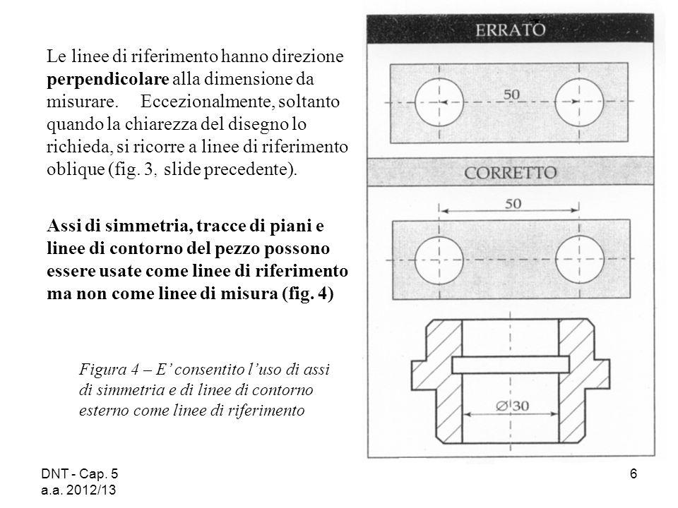 DNT - Cap. 5 a.a. 2012/13 6 Figura 4 – E consentito luso di assi di simmetria e di linee di contorno esterno come linee di riferimento Le linee di rif
