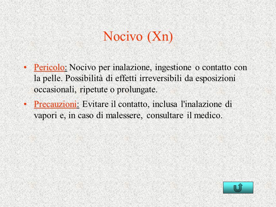 Nocivo (Xn) PericoloPericolo: Nocivo per inalazione, ingestione o contatto con la pelle. Possibilità di effetti irreversibili da esposizioni occasiona