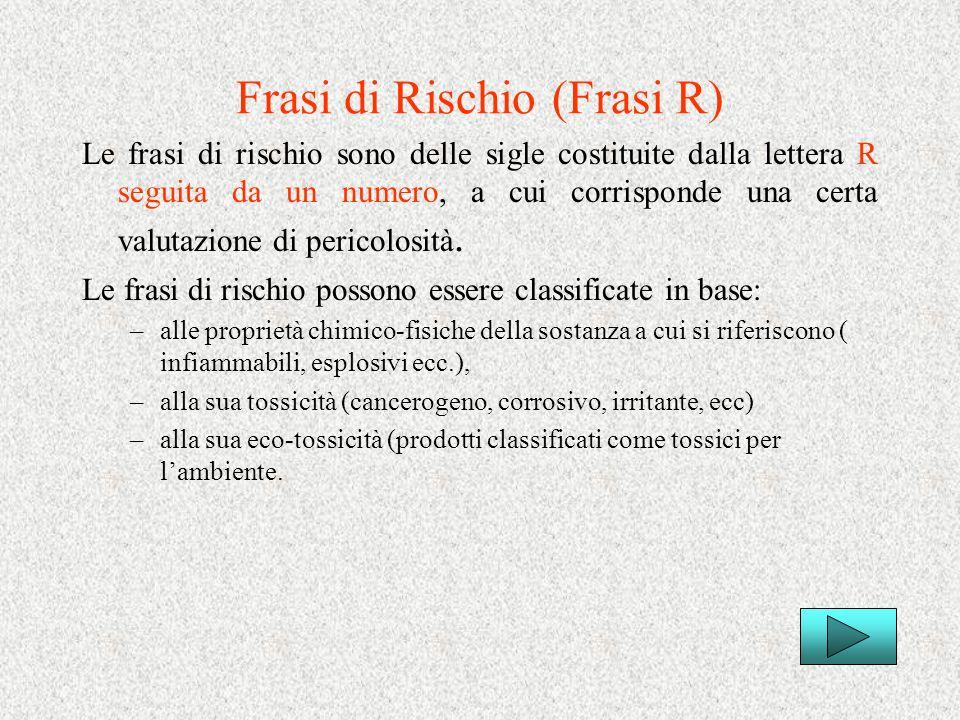 Frasi di Rischio (Frasi R) Le frasi di rischio sono delle sigle costituite dalla lettera R seguita da un numero, a cui corrisponde una certa valutazio