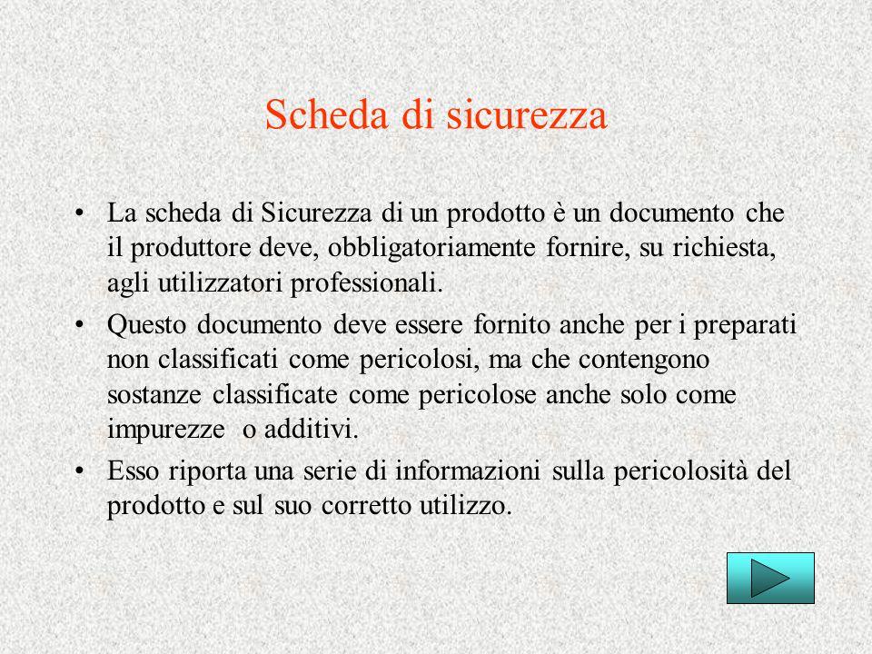 Scheda di sicurezza La scheda di Sicurezza di un prodotto è un documento che il produttore deve, obbligatoriamente fornire, su richiesta, agli utilizz
