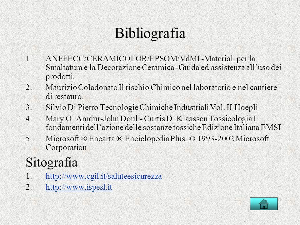 Bibliografia 1.ANFFECC/CERAMICOLOR/EPSOM/VdMI -Materiali per la Smaltatura e la Decorazione Ceramica -Guida ed assistenza alluso dei prodotti. 2.Mauri