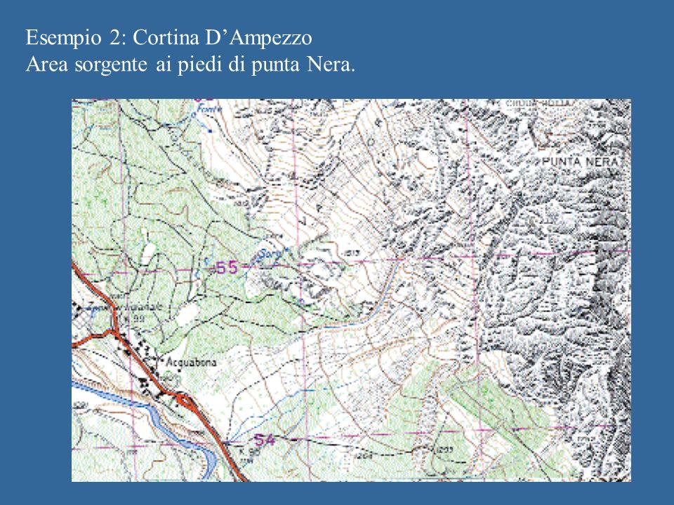 Esempio 2: Cortina DAmpezzo Area sorgente ai piedi di punta Nera.