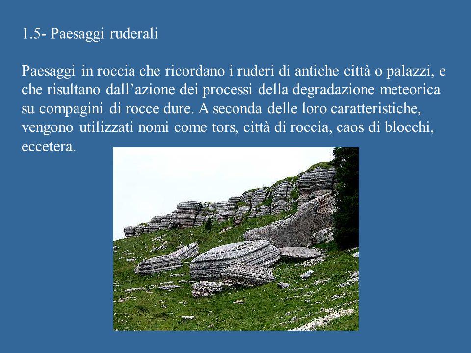 1.5- Paesaggi ruderali Paesaggi in roccia che ricordano i ruderi di antiche città o palazzi, e che risultano dallazione dei processi della degradazione meteorica su compagini di rocce dure.