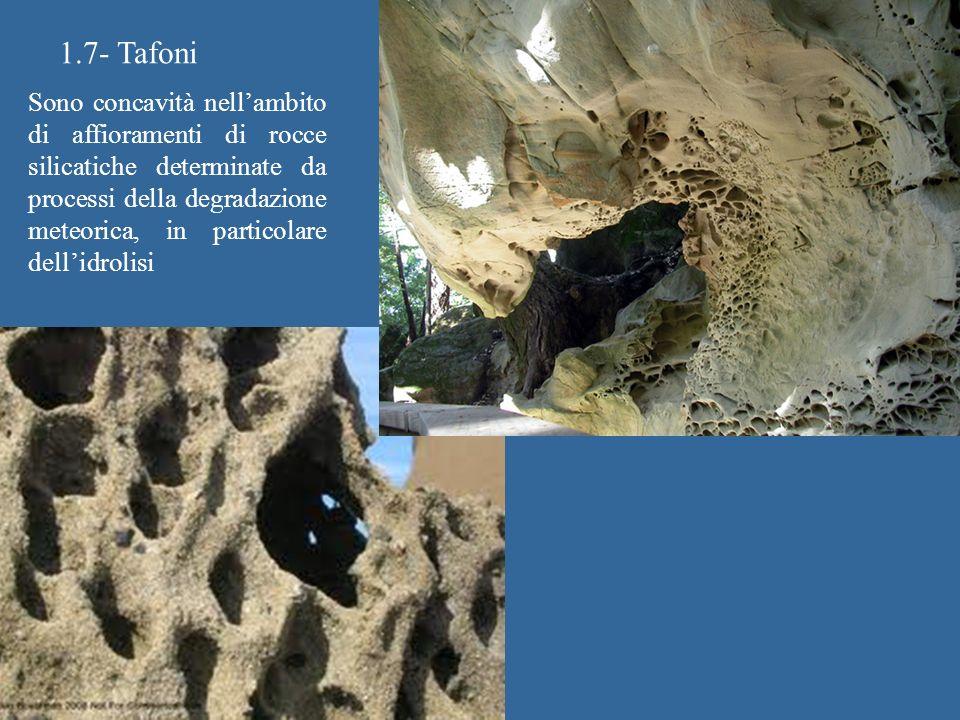 1.7- Tafoni Sono concavità nellambito di affioramenti di rocce silicatiche determinate da processi della degradazione meteorica, in particolare dellidrolisi