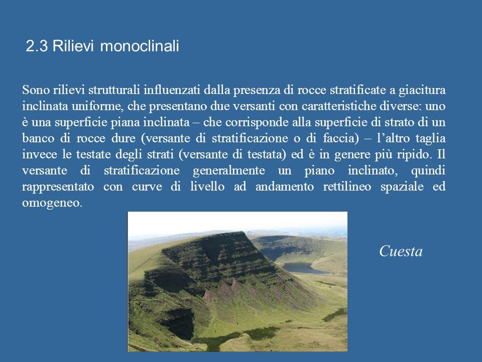 2.3 Rilievi monoclinali Sono rilievi strutturali influenzati dalla presenza di rocce stratificate a giacitura inclinata uniforme, che presentano due v