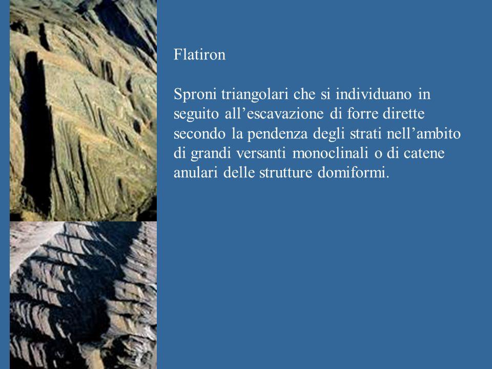 Flatiron Sproni triangolari che si individuano in seguito allescavazione di forre dirette secondo la pendenza degli strati nellambito di grandi versanti monoclinali o di catene anulari delle strutture domiformi.