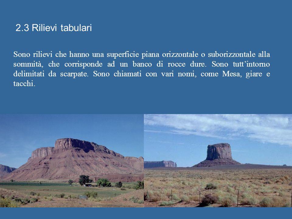 2.3 Rilievi tabulari Sono rilievi che hanno una superficie piana orizzontale o suborizzontale alla sommità, che corrisponde ad un banco di rocce dure.