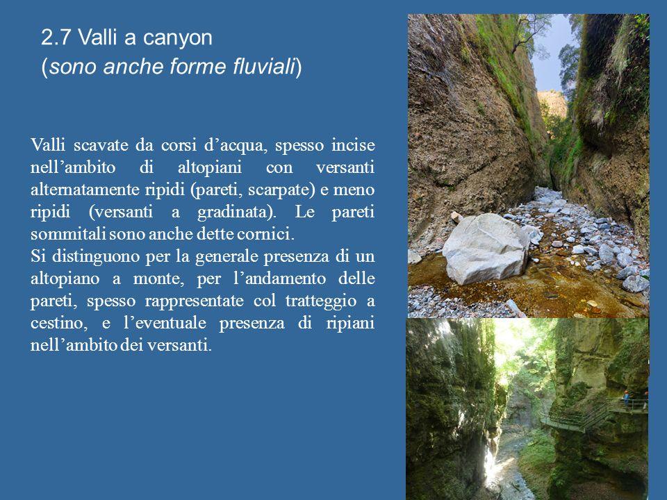 2.7 Valli a canyon (sono anche forme fluviali) Valli scavate da corsi dacqua, spesso incise nellambito di altopiani con versanti alternatamente ripidi (pareti, scarpate) e meno ripidi (versanti a gradinata).