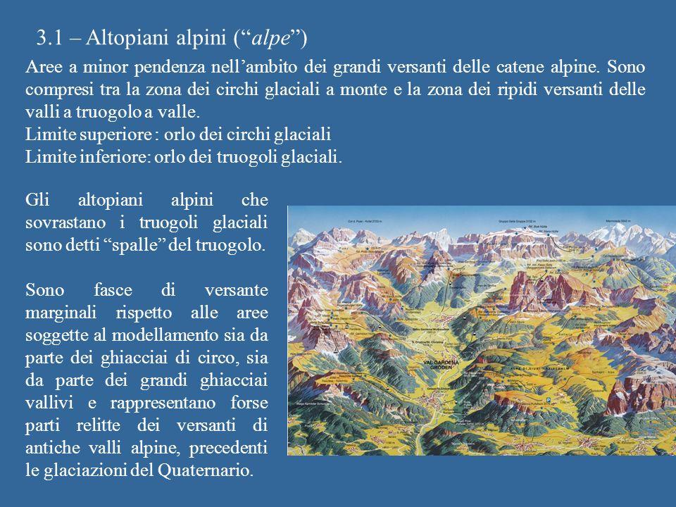 3.1 – Altopiani alpini (alpe) Aree a minor pendenza nellambito dei grandi versanti delle catene alpine. Sono compresi tra la zona dei circhi glaciali