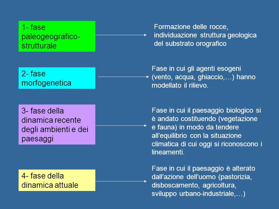1- fase paleogeografico- strutturale 2- fase morfogenetica 3- fase della dinamica recente degli ambienti e dei paesaggi 4- fase della dinamica attuale