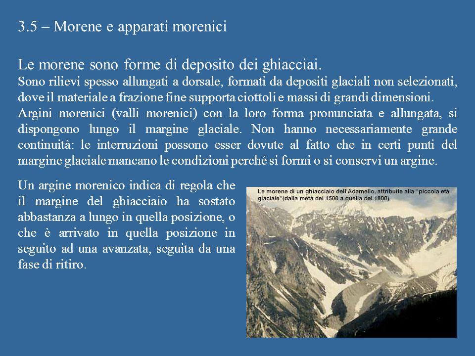 3.5 – Morene e apparati morenici Le morene sono forme di deposito dei ghiacciai. Sono rilievi spesso allungati a dorsale, formati da depositi glaciali