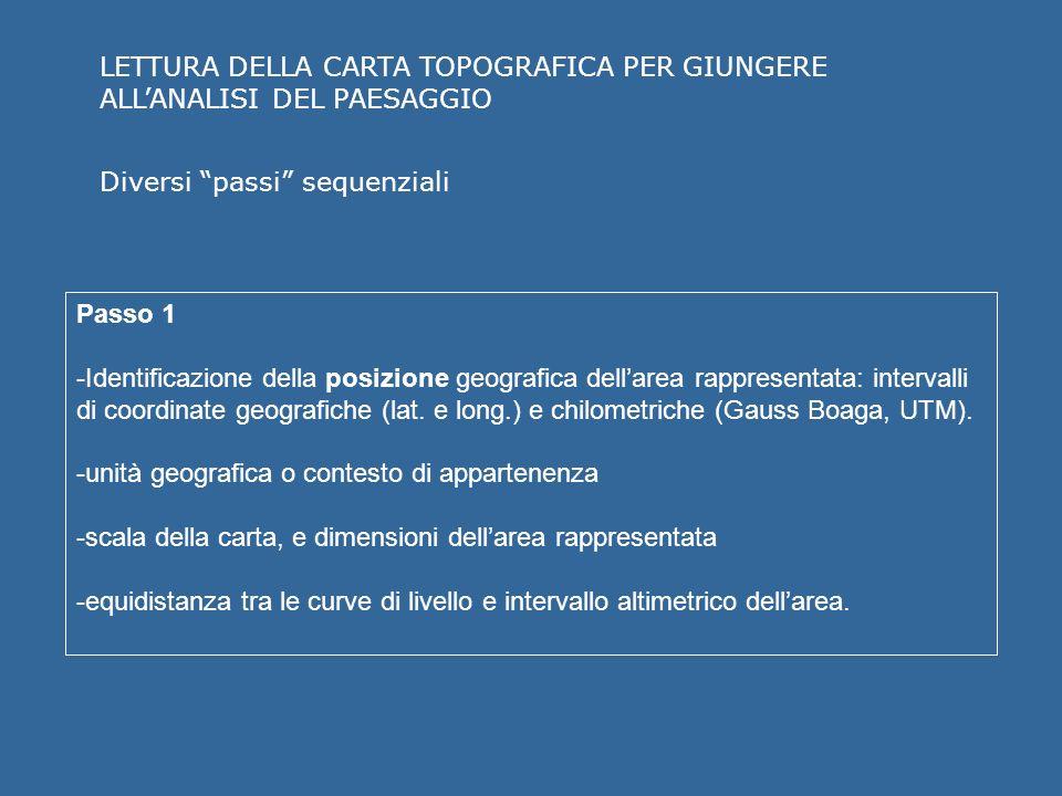 LETTURA DELLA CARTA TOPOGRAFICA PER GIUNGERE ALLANALISI DEL PAESAGGIO Passo 1 -Identificazione della posizione geografica dellarea rappresentata: intervalli di coordinate geografiche (lat.