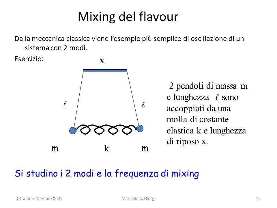 Otranto Settembre 2001Marcello A. Giorgi13 Mixing del flavour Dalla meccanica classica viene lesempio più semplice di oscillazione di un sistema con 2