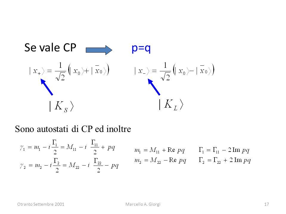 Otranto Settembre 2001Marcello A. Giorgi17 Se vale CP p=q Sono autostati di CP ed inoltre