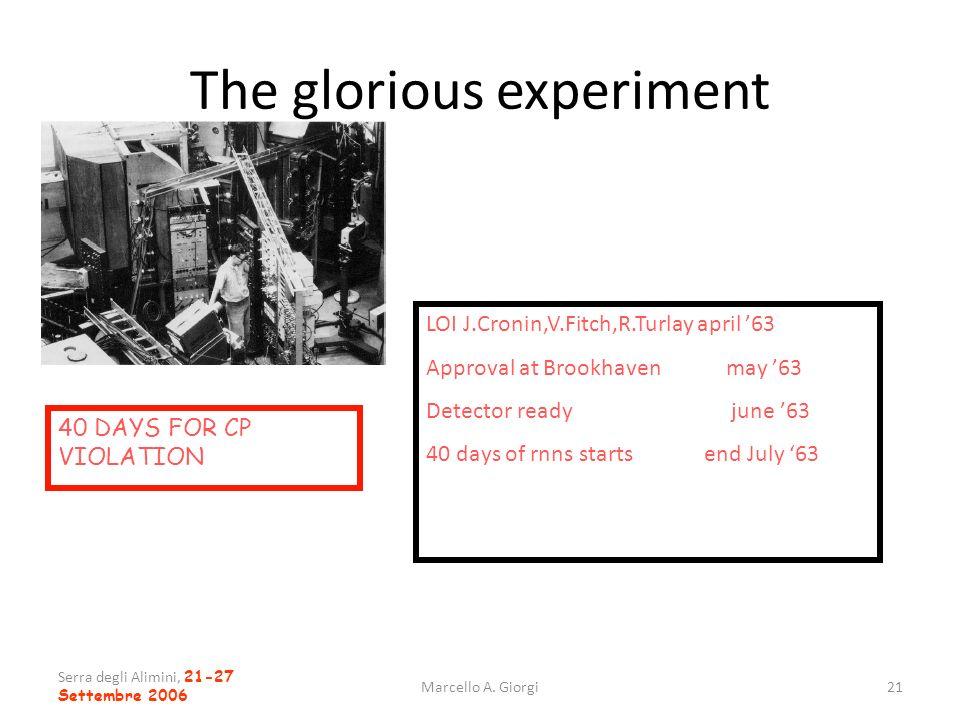 Serra degli Alimini, 21-27 Settembre 2006 Marcello A. Giorgi21 The glorious experiment 40 DAYS FOR CP VIOLATION LOI J.Cronin,V.Fitch,R.Turlay april 63