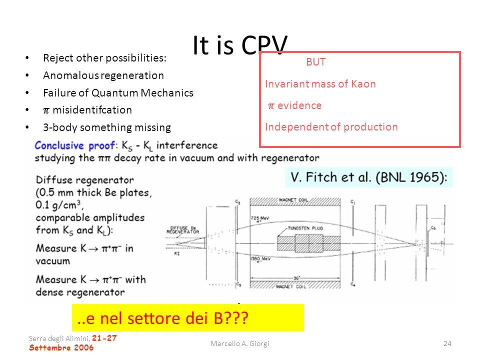 Serra degli Alimini, 21-27 Settembre 2006 Marcello A. Giorgi24 It is CPV Reject other possibilities: Anomalous regeneration Failure of Quantum Mechani
