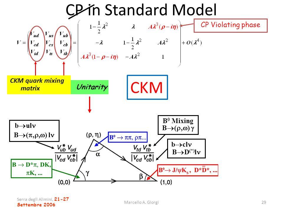 Serra degli Alimini, 21-27 Settembre 2006 Marcello A. Giorgi29 CP in Standard Model CKM quark mixing matrix b ul B ( ) l CP Violating phase B D (*) l
