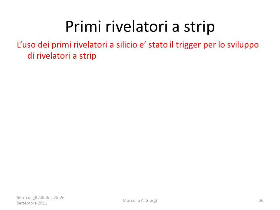Primi rivelatori a strip Luso dei primi rivelatori a silicio e stato il trigger per lo sviluppo di rivelatori a strip Serra degli Alimini, 25-26 Sette