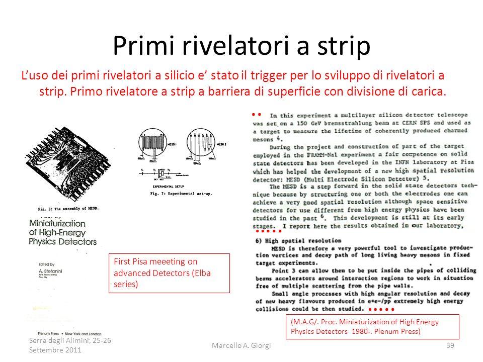 Primi rivelatori a strip Luso dei primi rivelatori a silicio e stato il trigger per lo sviluppo di rivelatori a strip. Primo rivelatore a strip a barr