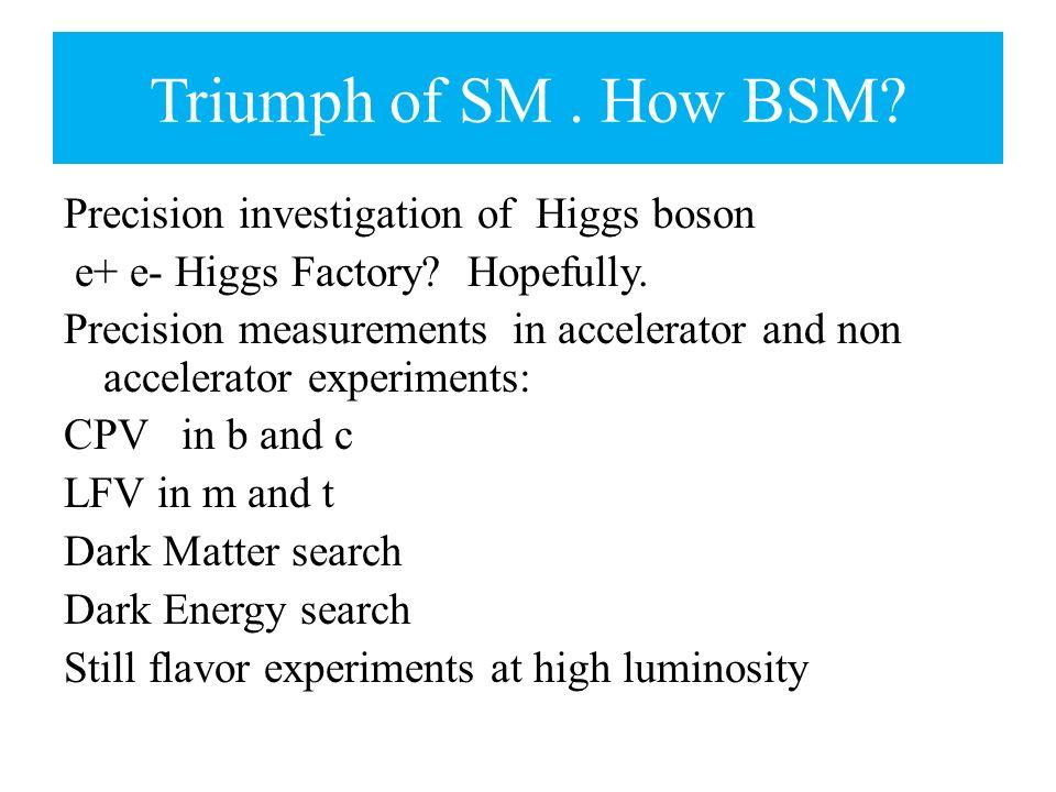 Precision investigation of Higgs boson e+ e- Higgs Factory? Hopefully. Precision measurements in accelerator and non accelerator experiments: CPV in b