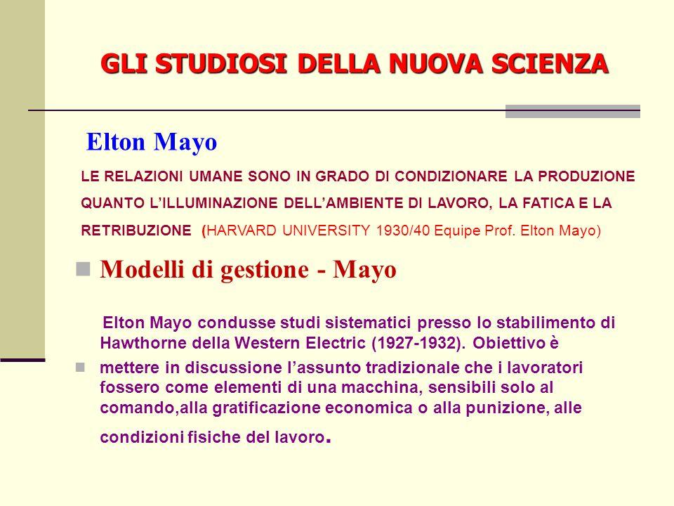GLI STUDIOSI DELLA NUOVA SCIENZA Modelli di gestione - Mayo Elton Mayo condusse studi sistematici presso lo stabilimento di Hawthorne della Western Electric (1927-1932).