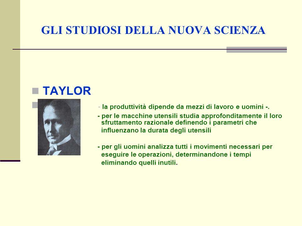 GLI STUDIOSI DELLA NUOVA SCIENZA TAYLOR - la produttività dipende da mezzi di lavoro e uomini -.