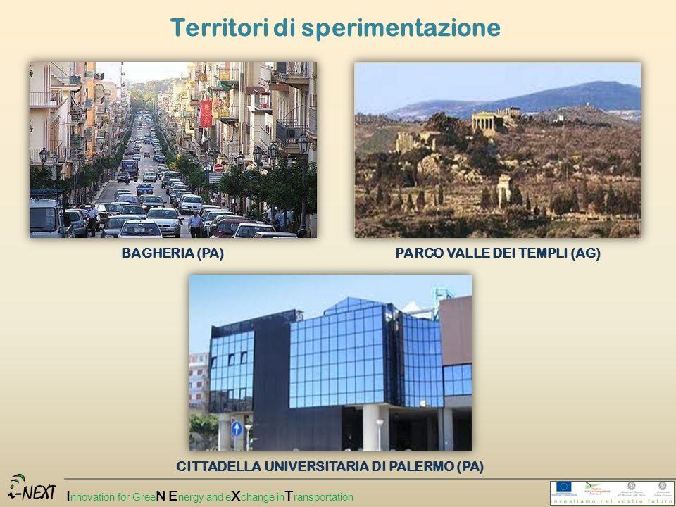 I nnovation for Gree N E nergy and e X change in T ransportation Territori di sperimentazione BAGHERIA (PA)PARCO VALLE DEI TEMPLI (AG) CITTADELLA UNIV
