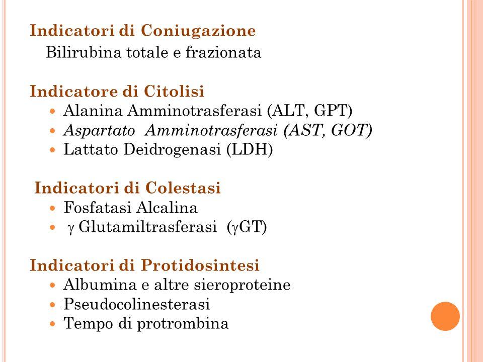 Indicatori di Coniugazione Bilirubina totale e frazionata Indicatore di Citolisi Alanina Amminotrasferasi (ALT, GPT) Aspartato Amminotrasferasi (AST, GOT) Lattato Deidrogenasi (LDH) Indicatori di Colestasi Fosfatasi Alcalina Glutamiltrasferasi ( GT) Indicatori di Protidosintesi Albumina e altre sieroproteine Pseudocolinesterasi Tempo di protrombina