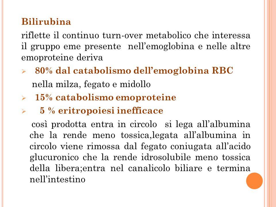 Bilirubina riflette il continuo turn-over metabolico che interessa il gruppo eme presente nellemoglobina e nelle altre emoproteine deriva 80% dal catabolismo dellemoglobina RBC nella milza, fegato e midollo 15% catabolismo emoproteine 5 % eritropoiesi inefficace così prodotta entra in circolo si lega allalbumina che la rende meno tossica,legata allalbumina in circolo viene rimossa dal fegato coniugata allacido glucuronico che la rende idrosolubile meno tossica della libera;entra nel canalicolo biliare e termina nellintestino