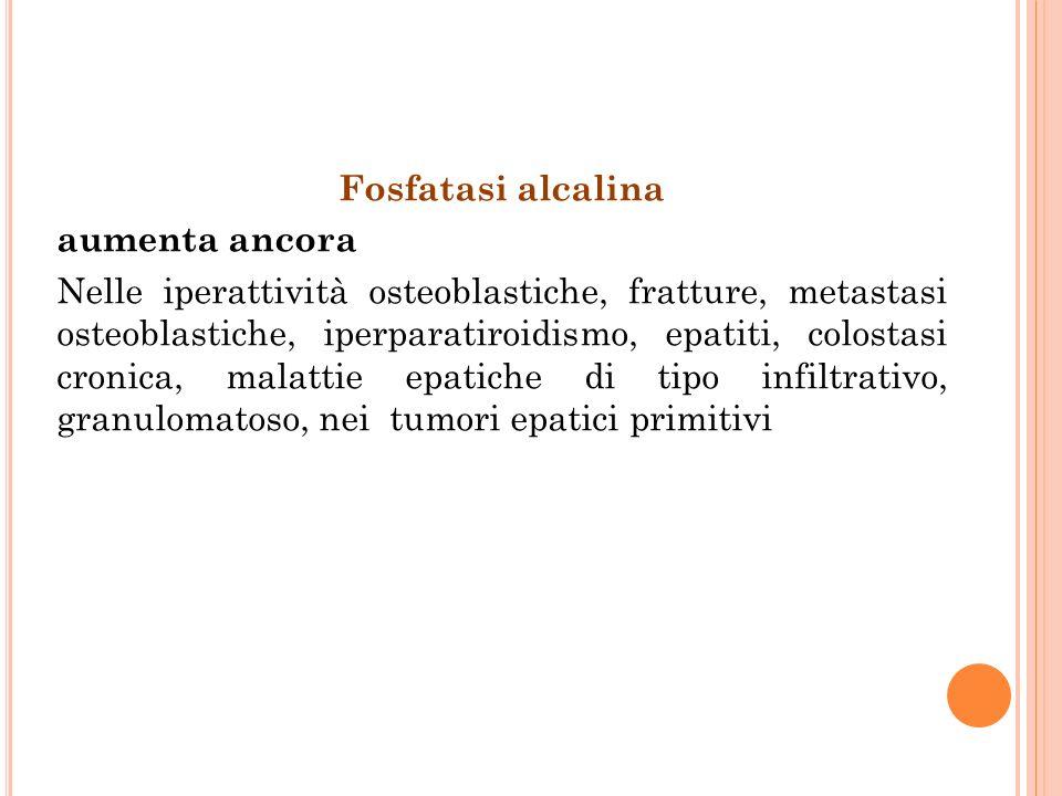 Fosfatasi alcalina aumenta ancora Nelle iperattività osteoblastiche, fratture, metastasi osteoblastiche, iperparatiroidismo, epatiti, colostasi cronic
