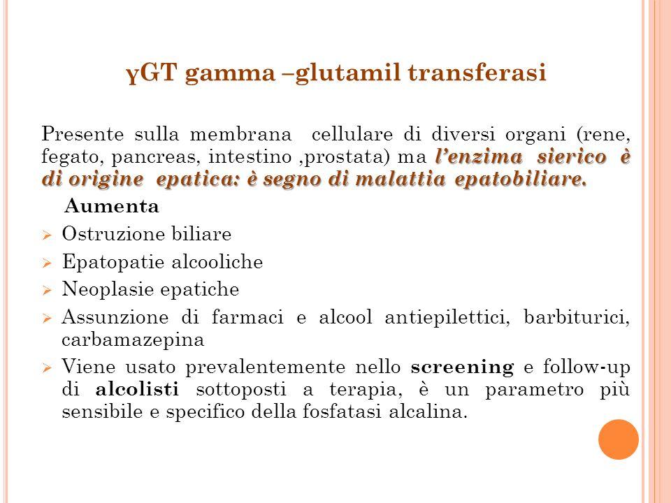γGT gamma –glutamil transferasi lenzima sierico è di origine epatica: è segno di malattia epatobiliare. Presente sulla membrana cellulare di diversi o