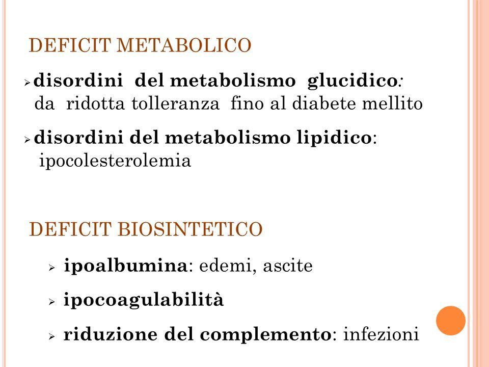DEFICIT METABOLICO disordini del metabolismo glucidico : da ridotta tolleranza fino al diabete mellito disordini del metabolismo lipidico : ipocolesterolemia DEFICIT BIOSINTETICO ipoalbumina : edemi, ascite ipocoagulabilità riduzione del complemento : infezioni