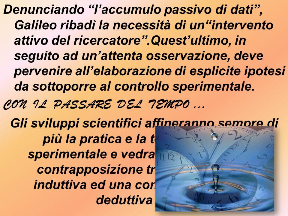 Denunciando laccumulo passivo di dati, Galileo ribadì la necessità di unintervento attivo del ricercatore.Questultimo, in seguito ad unattenta osservazione, deve pervenire allelaborazione di esplicite ipotesi da sottoporre al controllo sperimentale.