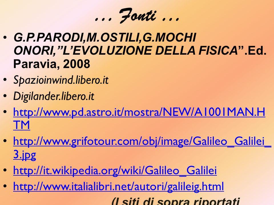 … Fonti … G.P.PARODI,M.OSTILI,G.MOCHI ONORI,LEVOLUZIONE DELLA FISICA.Ed.