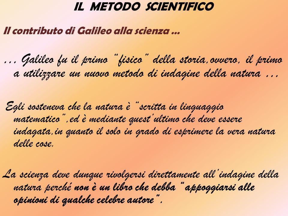 IL METODO SCIENTIFICO Il contributo di Galileo alla scienza … … Galileo fu il primo fisico della storia,ovvero, il primo a utilizzare un nuovo metodo di indagine della natura … Egli sosteneva che la natura è scritta in linguaggio matematico,ed è mediante questultimo che deve essere indagata,in quanto il solo in grado di esprimere la vera natura delle cose.