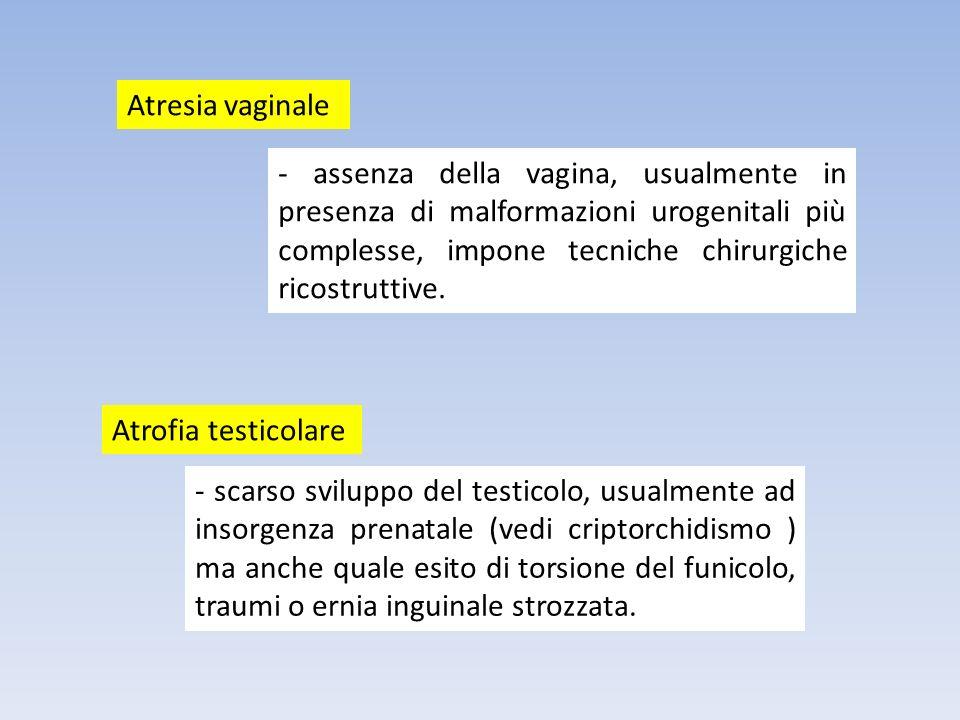 - assenza della vagina, usualmente in presenza di malformazioni urogenitali più complesse, impone tecniche chirurgiche ricostruttive. Atresia vaginale