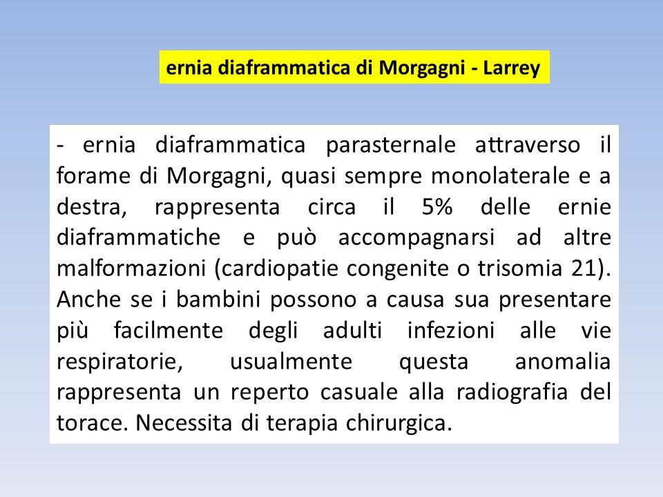 - ernia diaframmatica parasternale attraverso il forame di Morgagni, quasi sempre monolaterale e a destra, rappresenta circa il 5% delle ernie diafram