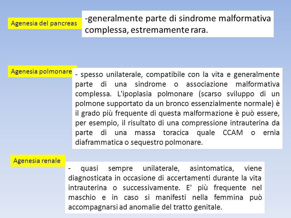 -generalmente parte di sindrome malformativa complessa, estremamente rara. Agenesia del pancreas Agenesia polmonare Agenesia renale - quasi sempre uni