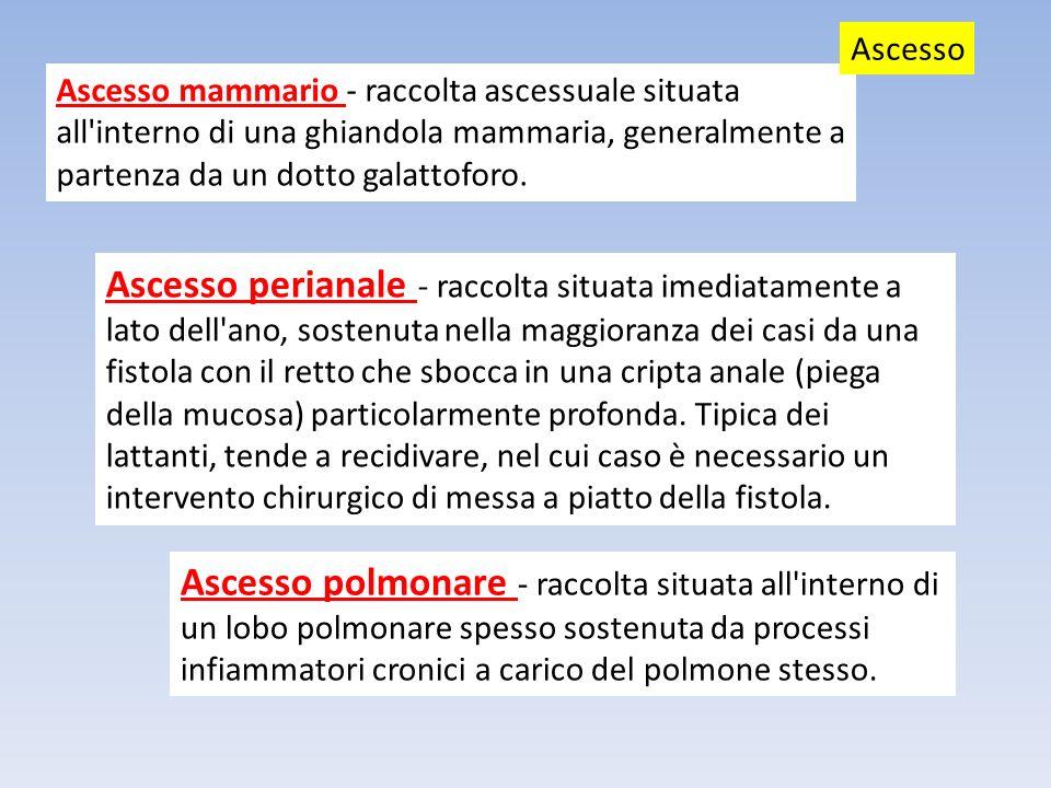 Ascesso mammario - raccolta ascessuale situata all'interno di una ghiandola mammaria, generalmente a partenza da un dotto galattoforo. Ascesso Ascesso