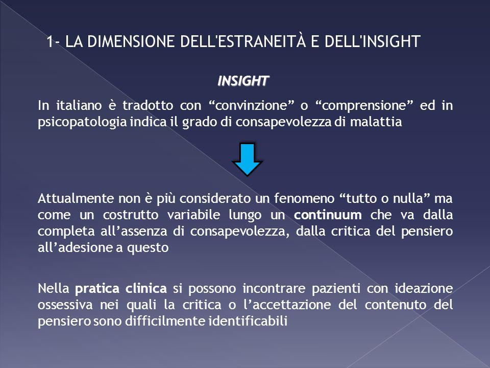 1- LA DIMENSIONE DELL'ESTRANEITÀ E DELL'INSIGHT In italiano è tradotto con convinzione o comprensione ed in psicopatologia indica il grado di consapev