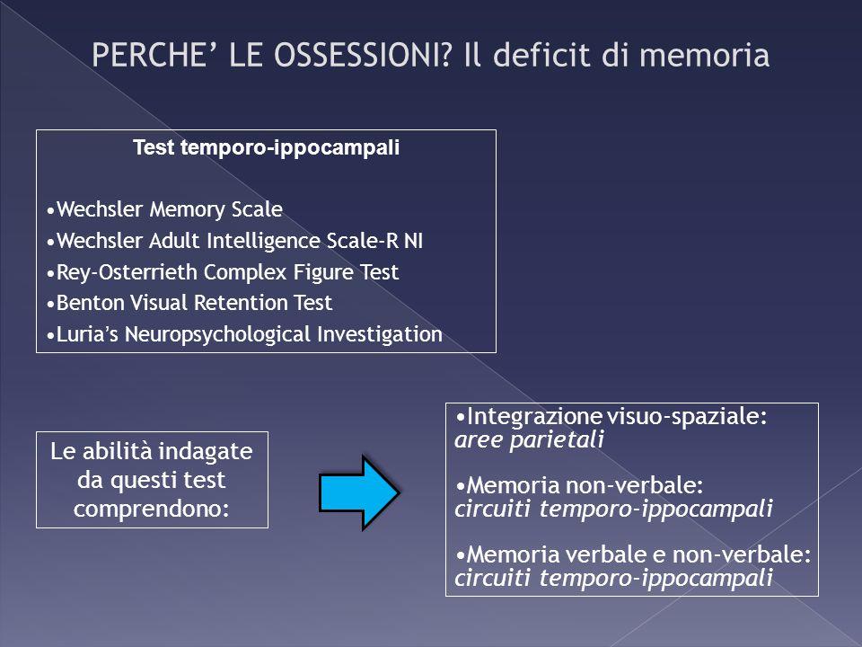 Integrazione visuo-spaziale: aree parietali Memoria non-verbale: circuiti temporo-ippocampali Memoria verbale e non-verbale: circuiti temporo-ippocamp